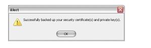 Security Certificate Backup successful