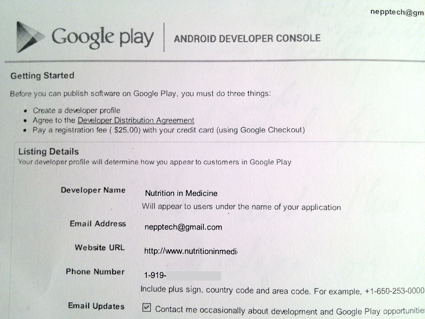 Google Play Developer Application Process | NIM ReFLEXtions